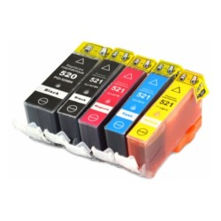 Pack5 Tinteiro Compatível Canon  PGI520/CLI521 Preto/Azul/Magenta/Amarelo