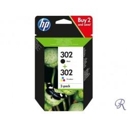 Conjunto de 2 Tinteiros HP Originais 302 Preto/Tricolor (X4D37AE)