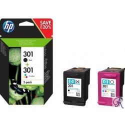 Pack 2 Tinteiros HP 301 Preto e Cores (N9J72AE)